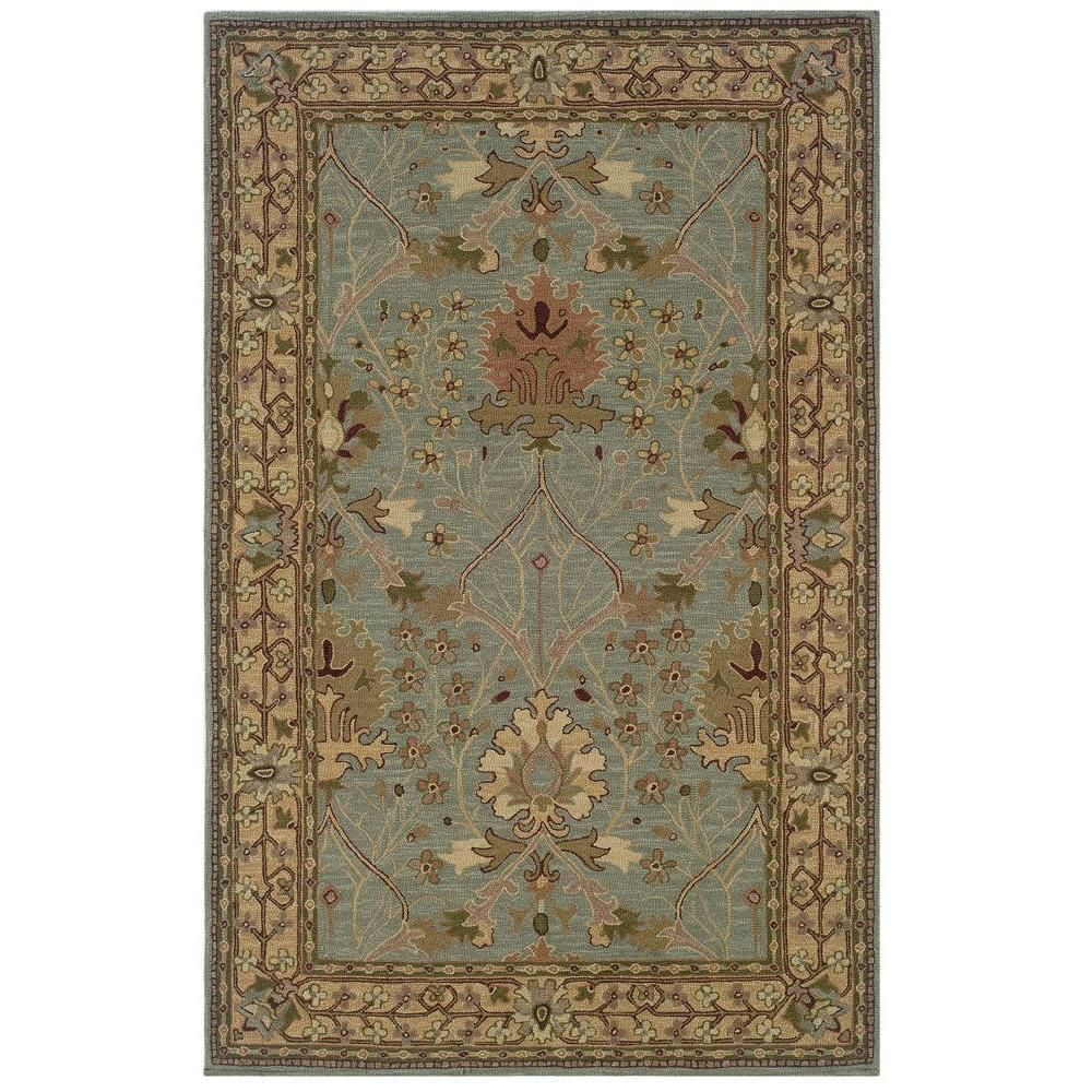 Linon Home Decor Soumak Collection Ice Blue And Pale Gold 9 Ft X 12 Ft Indoor Area Rug Rug Slsg8291 The Home Depot Gold Rug Grey Area Rug Hand Tufted Rugs