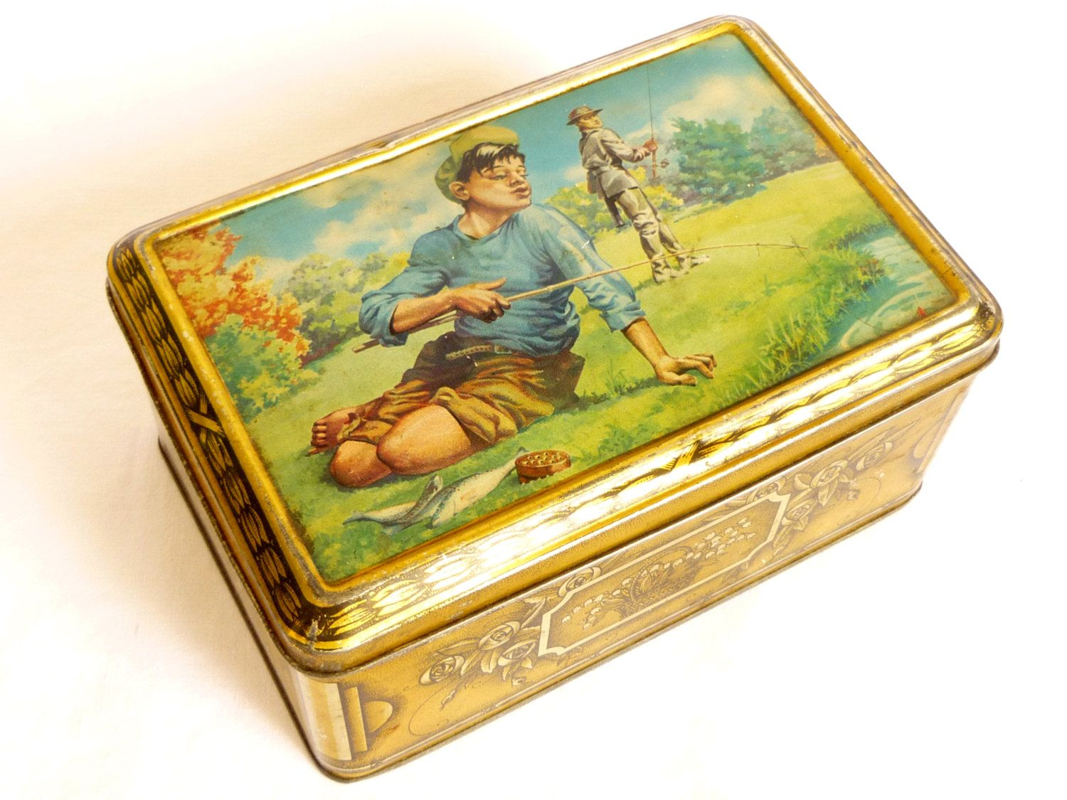 Boite Metal Cuisine Vintage Vintage 1940 Campaign Fishermen Box Antique Cake Storage Box
