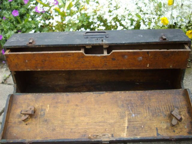 Vintage Antique Old Wooden Carpenters Tool Box Storage Box Ebay