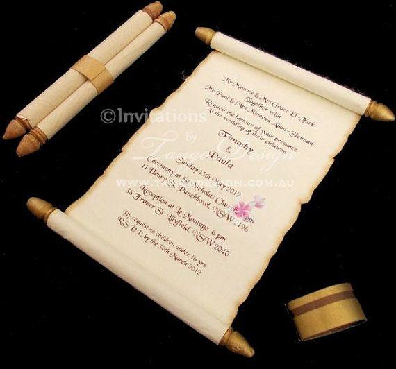 Burnt scroll card Invitation 50 Wedding parchment scroll