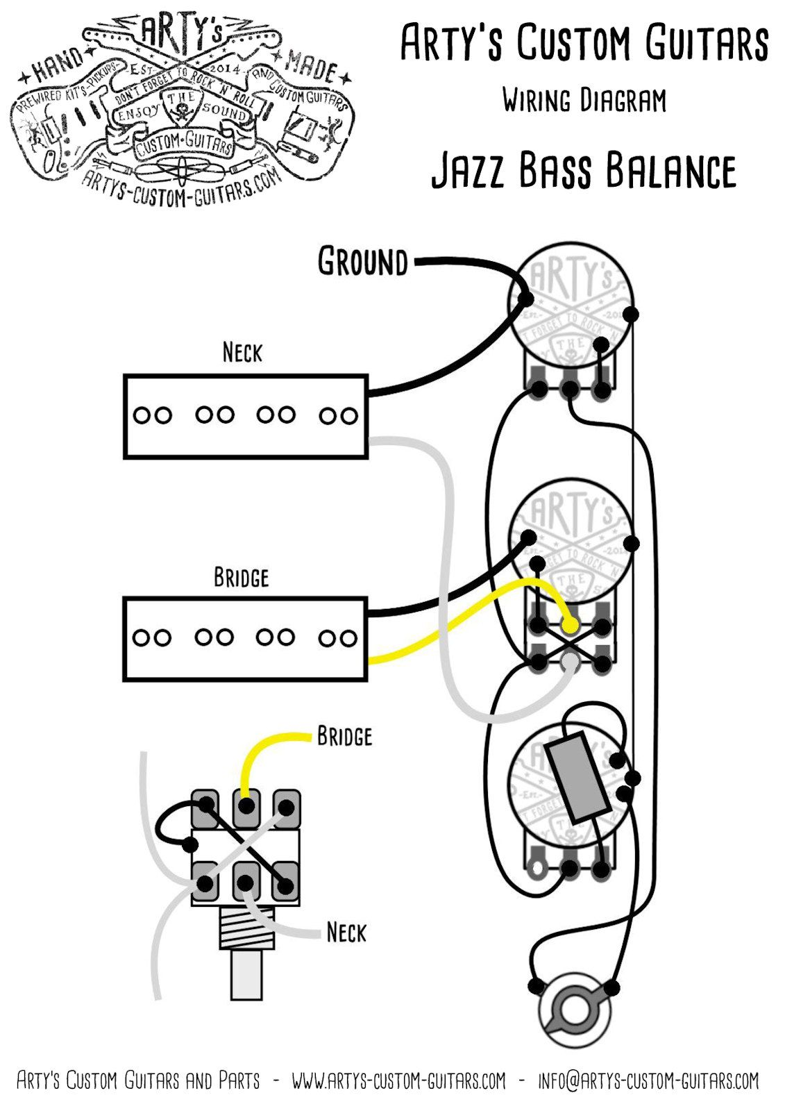 Artys Custom Guitars Balance Jazz Bass Pre Wired Prewired Kit Guitar Wiring Diagram Assembly Harness Precision J P