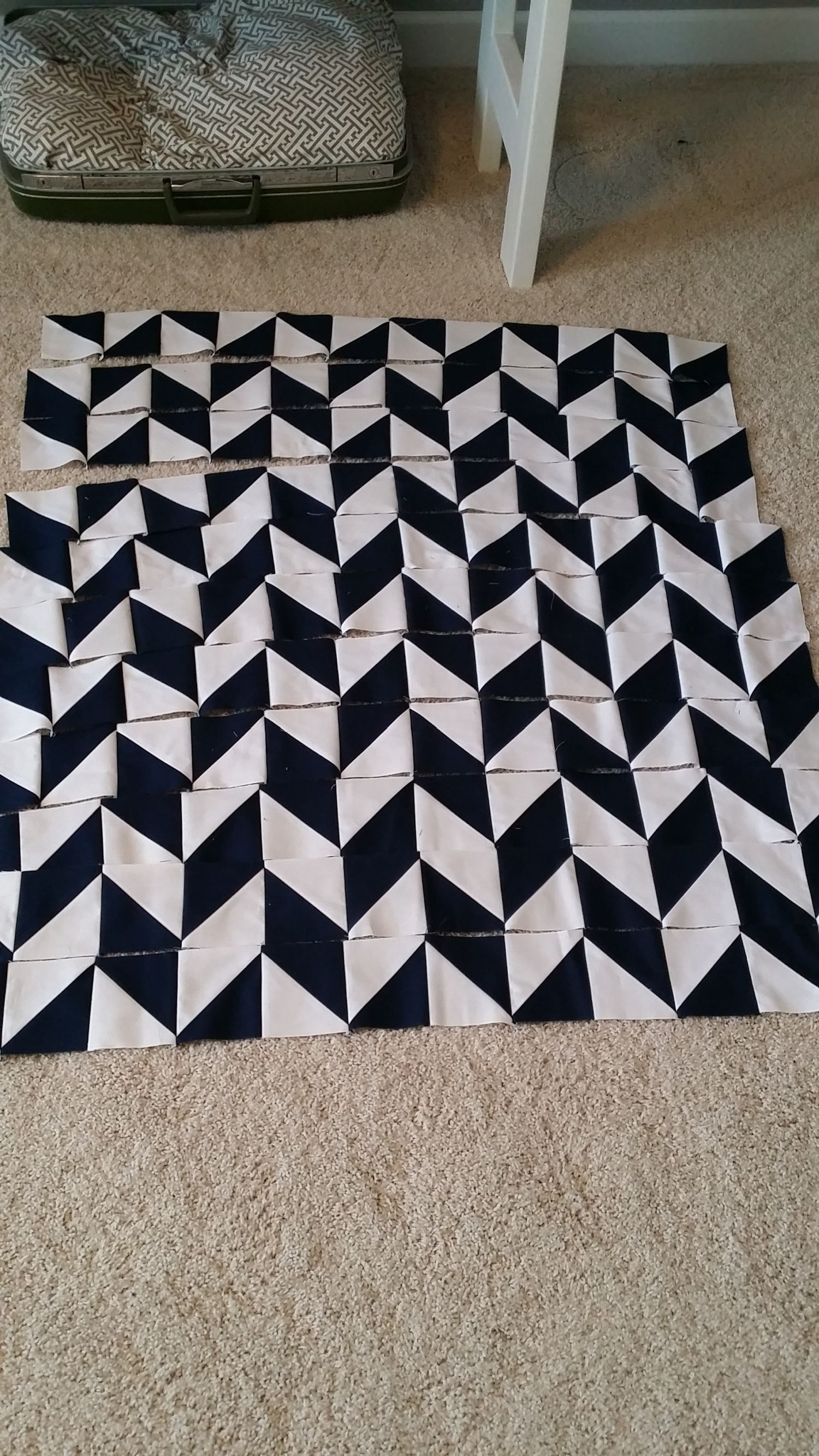 Navy And White Herringbone Quilt Herringbone Quilt Quilt Patterns Two Color Quilts