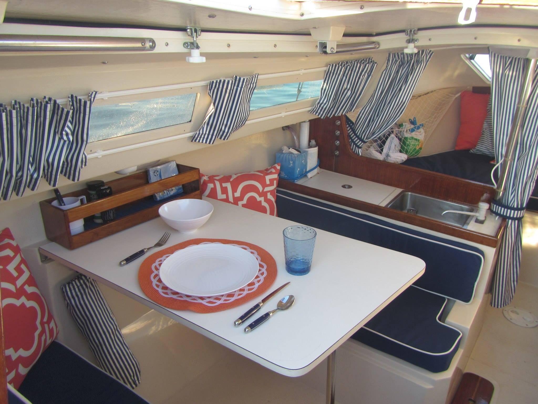 lovely decor upgrades to a catalina 22. beautiful! | sailboat