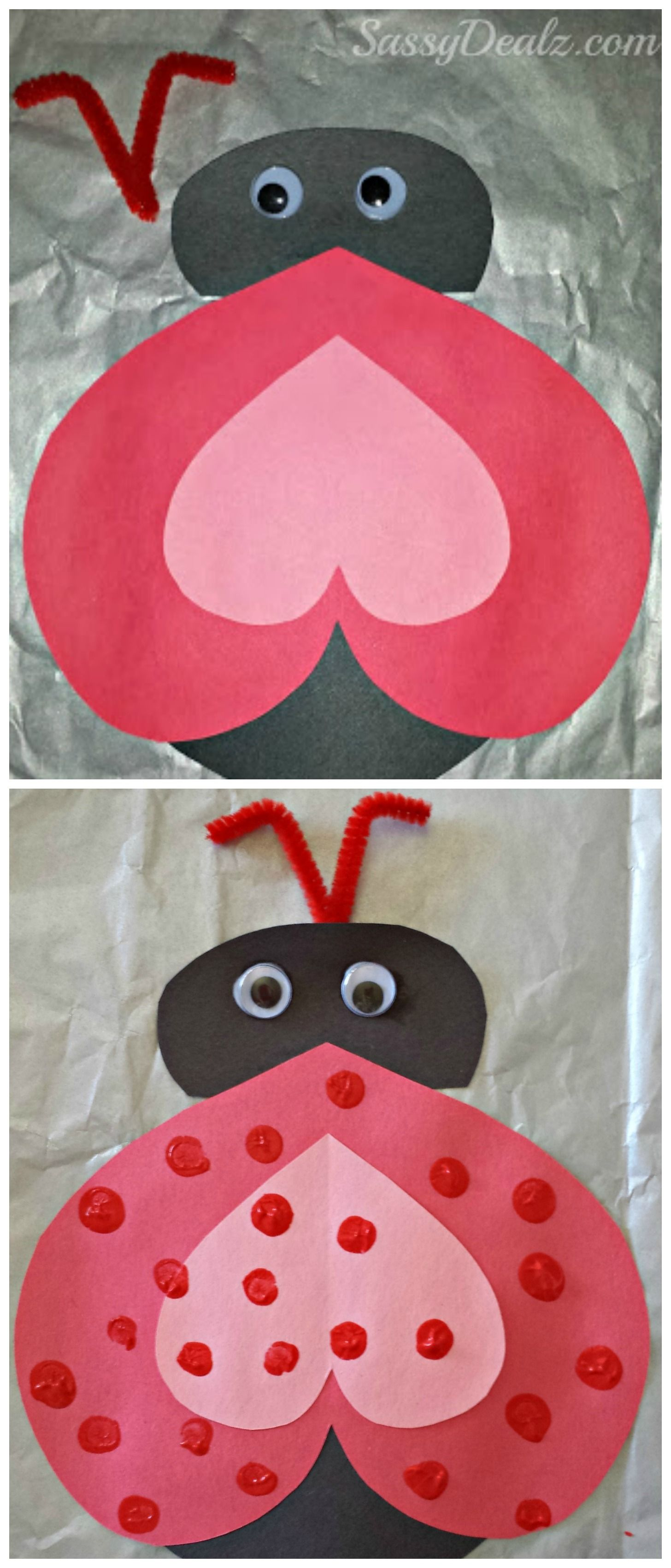 Heart Ladybug Valentines Day Craft For Kids – Valentine Card for Preschoolers