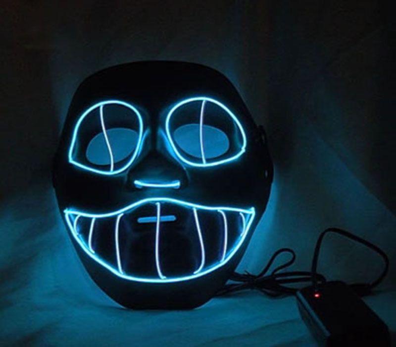 cosplay EL Wire blue Emazing thunder light up skull v Vendetta led ...