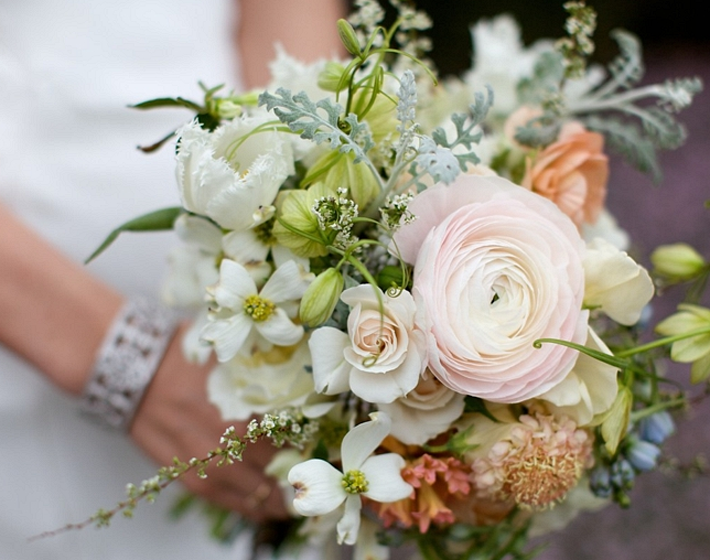 Bouquet with dogwood and ranunculus