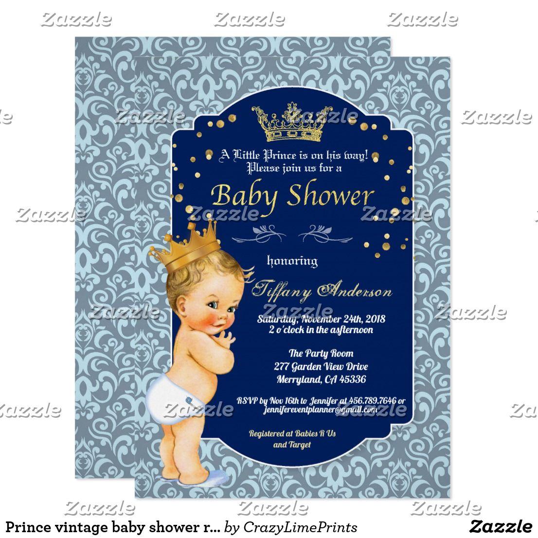 Prince Vintage Baby Shower Royal Blue