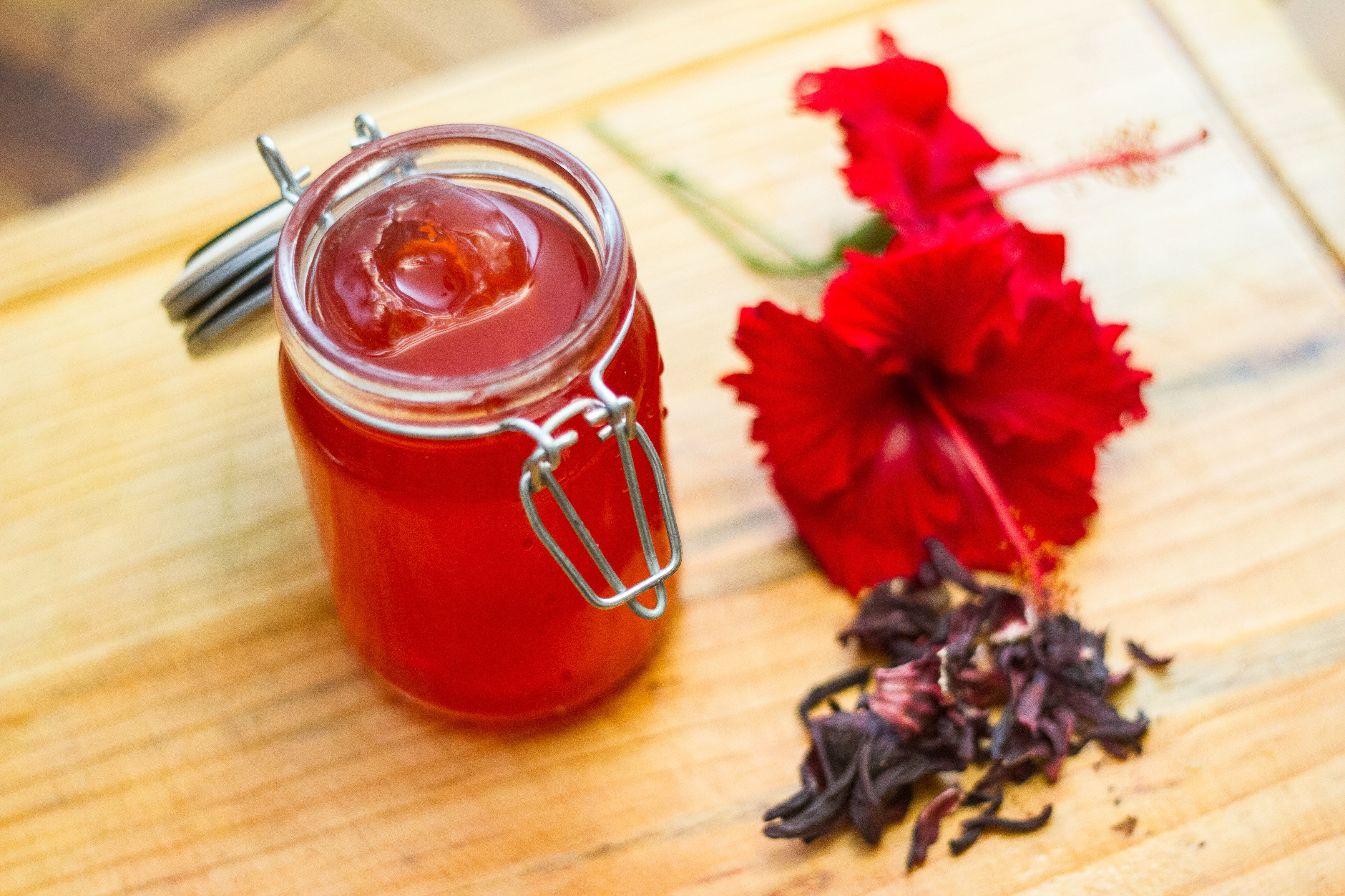 Make Sweet Hibiscus Flower Syrup Recipe Flavored Oils Hibiscus Hibiscus Tea