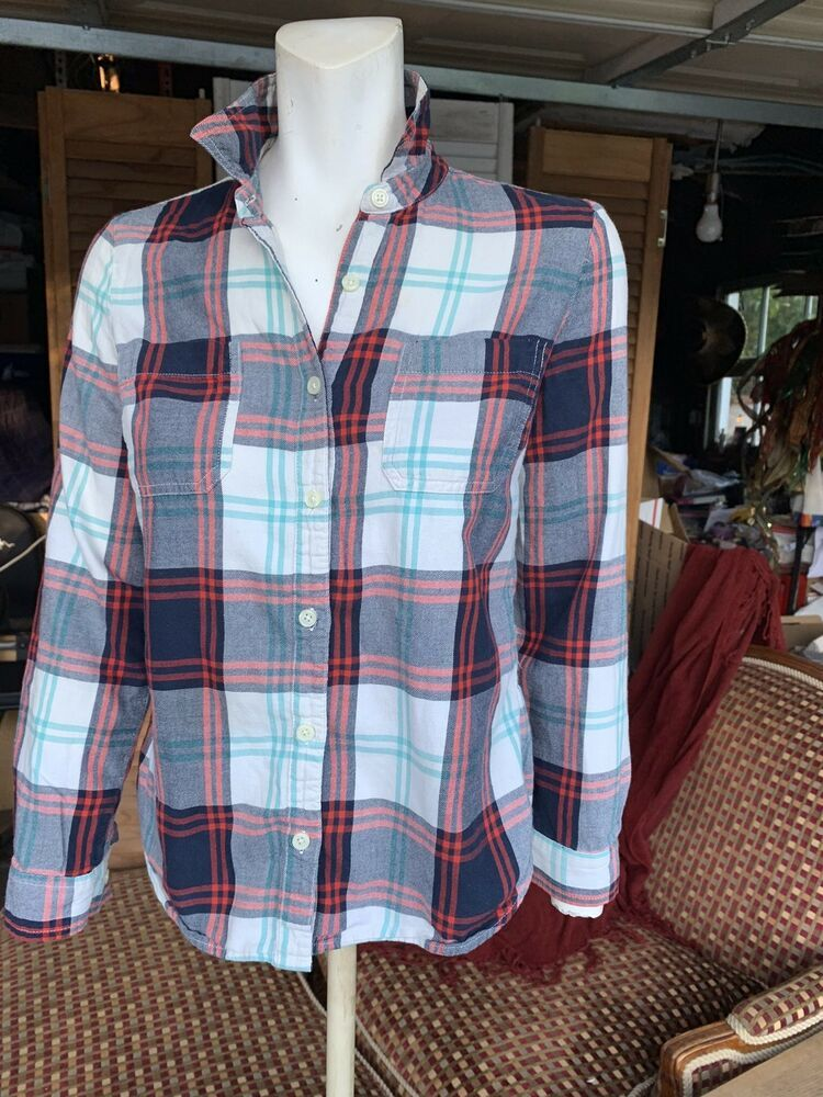 ec78fca175781 Old Navy Plaid Flannel Womens Shirt Navy Blue White Red Turquoise XS ...