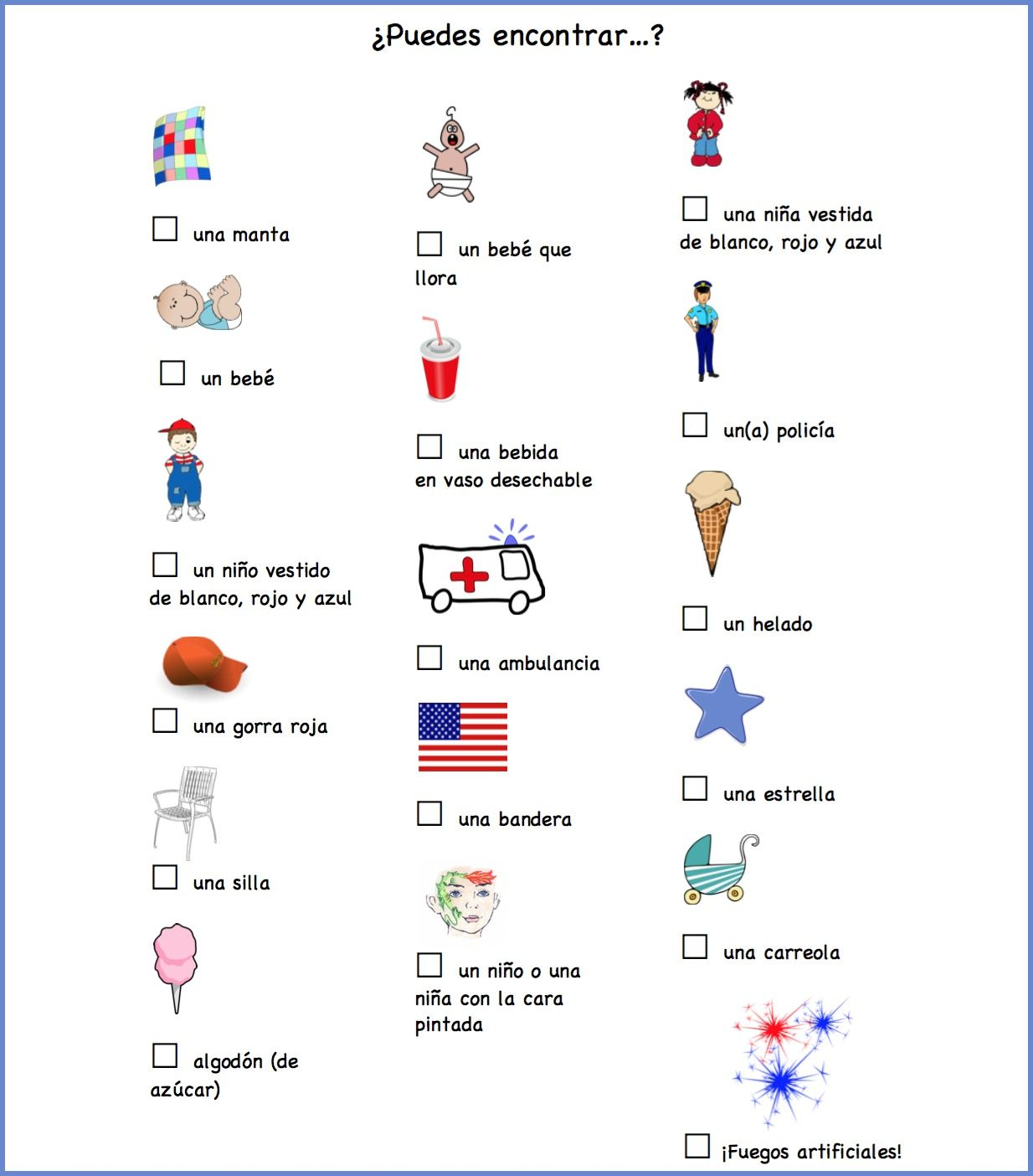 4th Of July Scavenger Hunt In Spanish