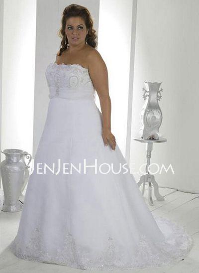 like,,,,,,,,,,,,,,,,,,,,,,,,,,Wedding Dresses - $189.99 - A-Line/Princess Strapless Chapel Train Organza  Satin Wedding Dresses With Ruffle  Lace  Beadwork (002000385) http://jenjenhouse.com/A-line-Princess-Strapless-Chapel-Train-Organza--Satin-Wedding-Dresses-With-Ruffle--Lace--Beadwork-002000385-g385