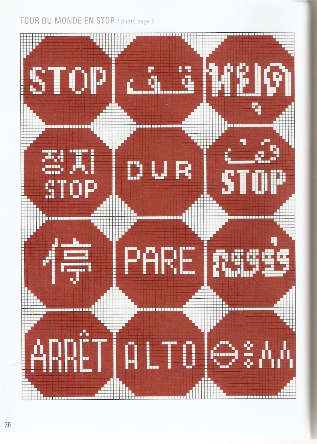 Stop sign in several languages x-stitch