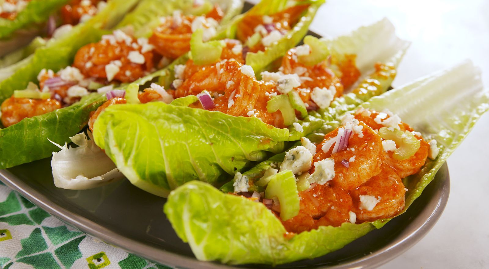 Buffalo Shrimp Lettuce Wraps #buffaloshrimp