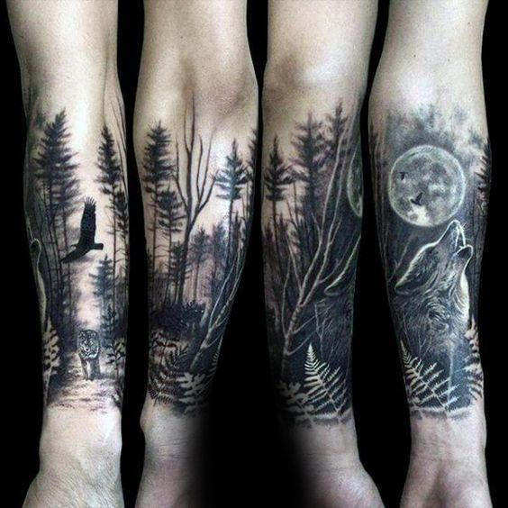 Wolf Howling At The Moon Male Forest Tattoo Sleeve On Forearms Wolf Tattoo Sleeve Forest Tattoos Forest Tattoo Sleeve