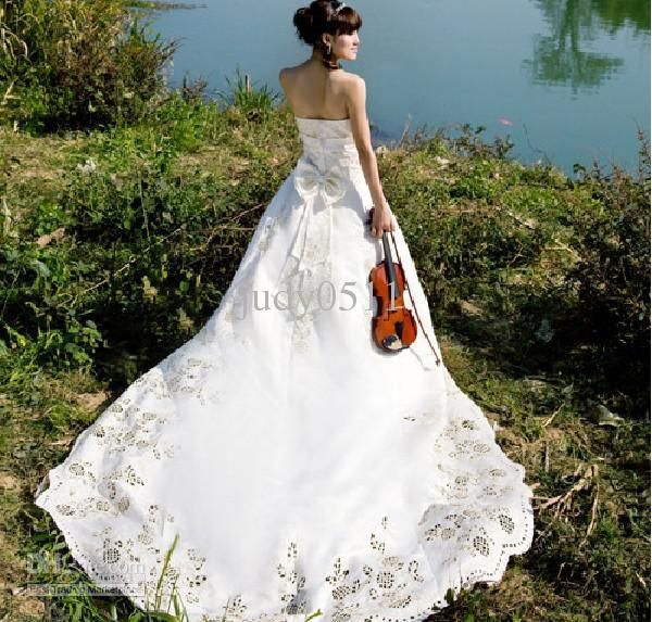 CY021 New Style Luxury Long Trailing Korean Style White