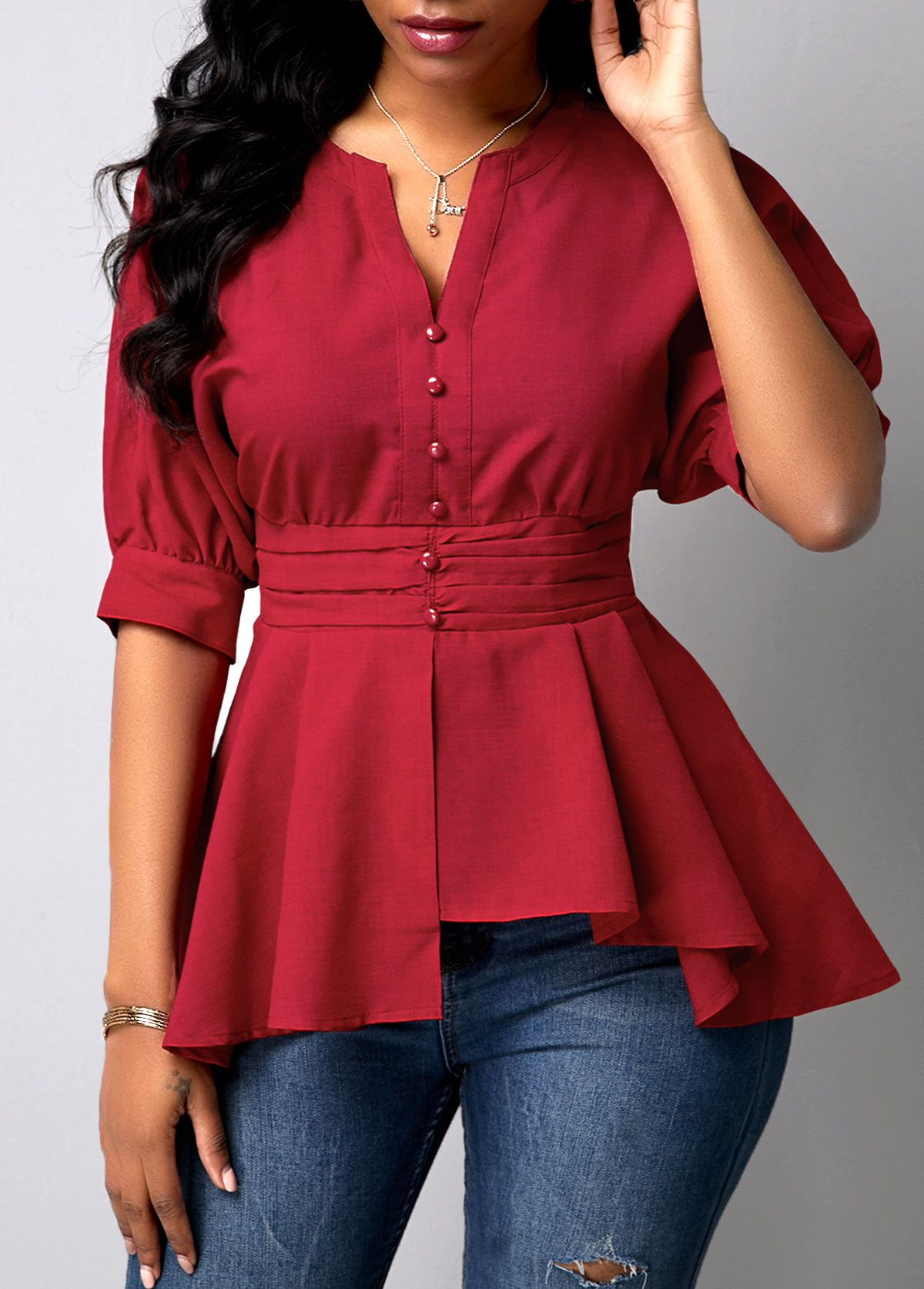 Peplum Waist Wine Red Button Detail Blouse Rotita Com Usd 30 52 In 2020 Trendy Fashion Tops Trendy Tops For Women Wine Red Blouse