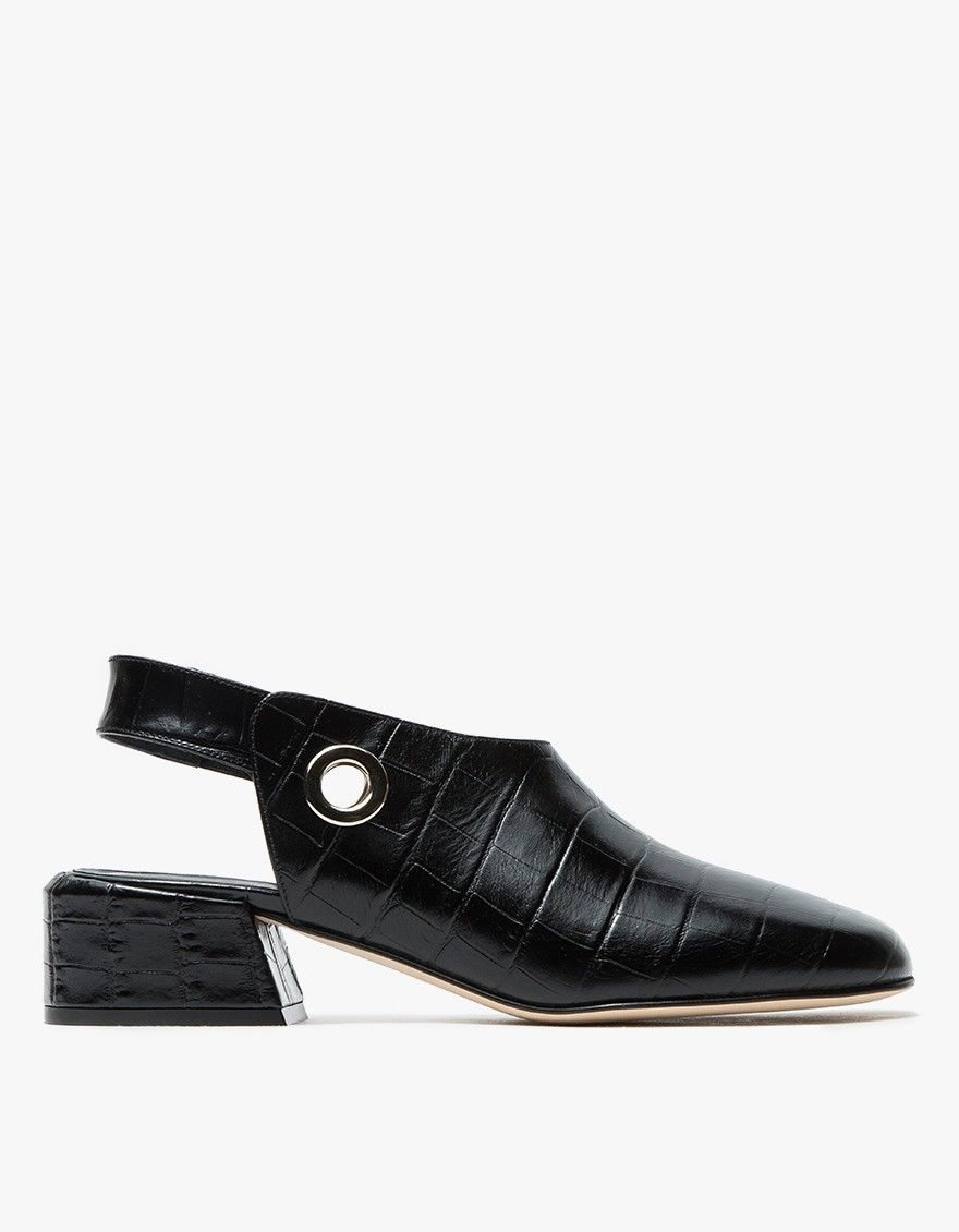 Tibi Aria Croc Embossed Women Shoes Strap Heels Dress Shoes Men [ 1130 x 880 Pixel ]