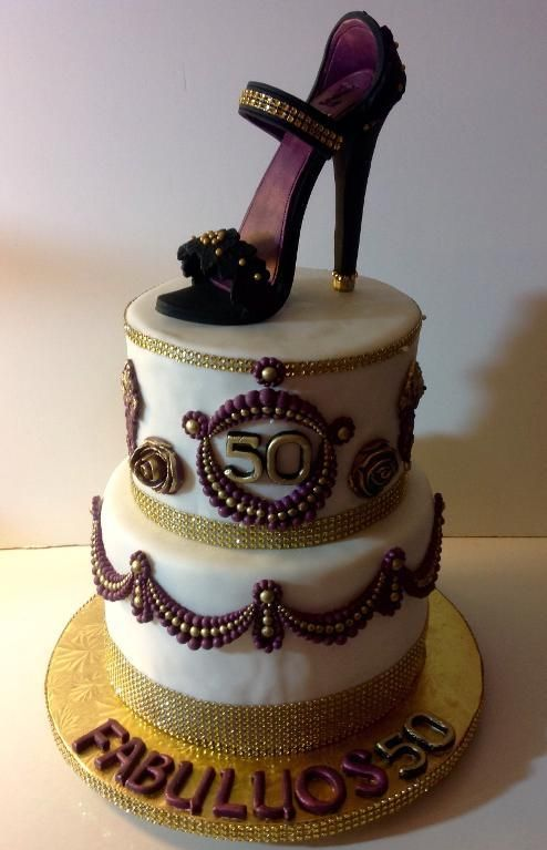 Fantastic This A Two Tiers 50Th Birthday Cake With A Stiletto Topper Funny Birthday Cards Online Kookostrdamsfinfo