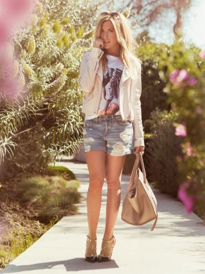 Denim Shorts - One of my go to staples any time of year is a great pair of distressed denim shorts...