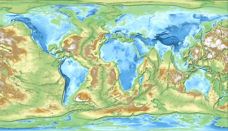 Inverted Earth The World Mapped By Inverted Elevation And - Elevation world