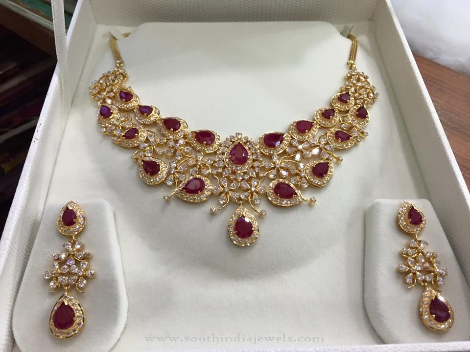 68 Grams Gold Ruby Necklace Designs With Weight Details White Stones And Rubies