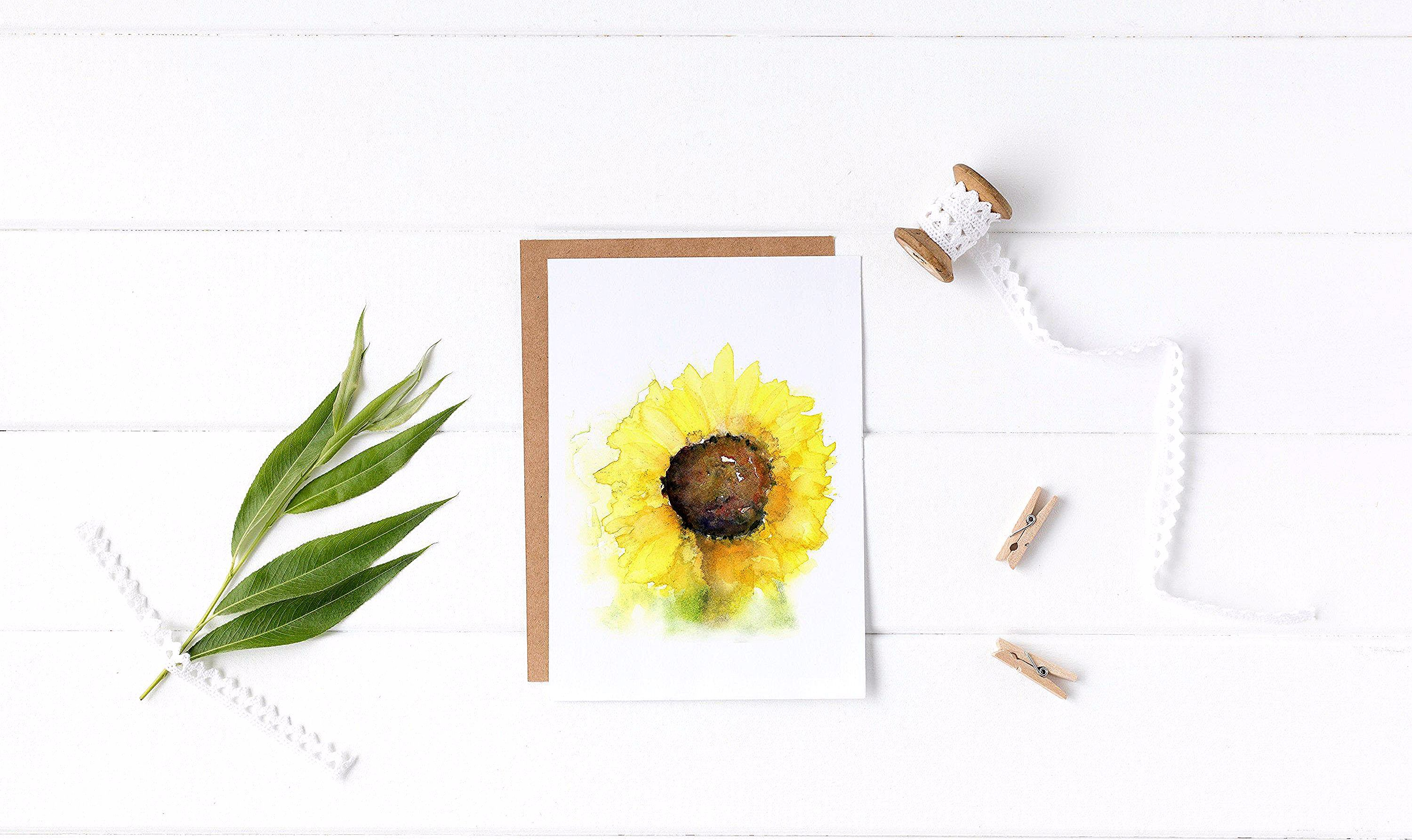 Sunflower Watercolor Card – Cheerful – Loose Watercolor - Summer - Flower - Atmospheric - Colorful - Birthday - Get Well Soon - Thank You #Watercolor #ArtistOriginal #GreetingCard #HandMade #AllOccasions #Summer #Cheerful #Colorful #GetWellSoon #Birthday