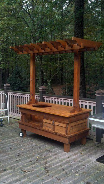 Big Green Egg Table Cedar By Chad Hamlin Lumberjocks