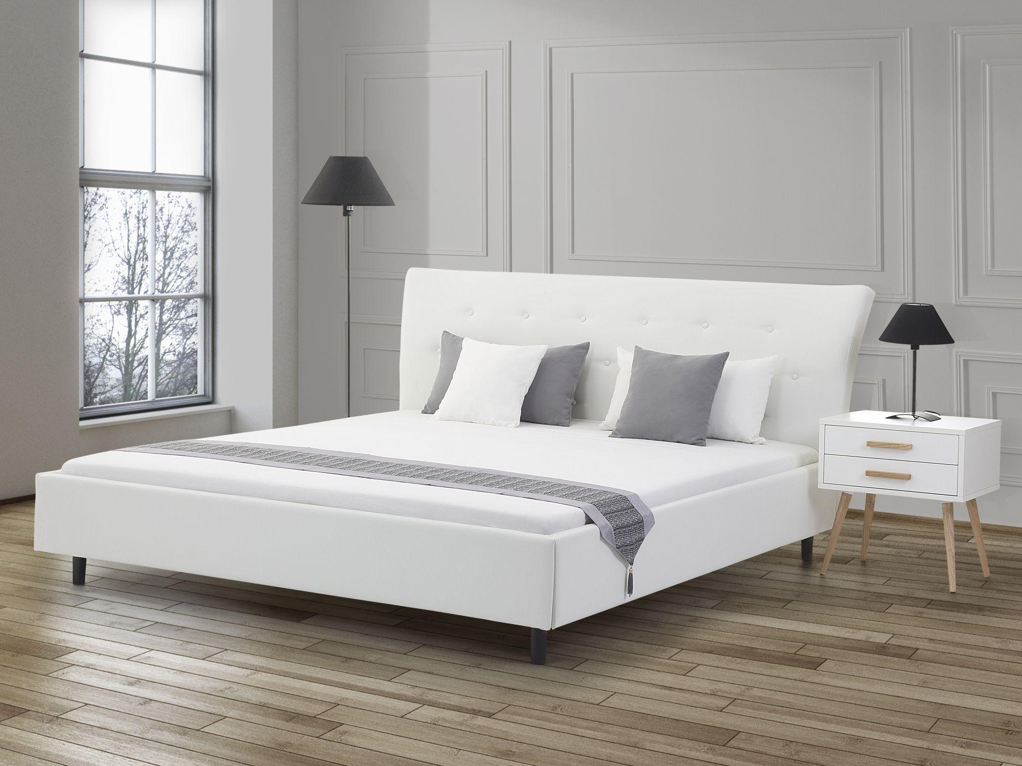 Faux Leather EU King Size Bed White SAVERNE (con immagini