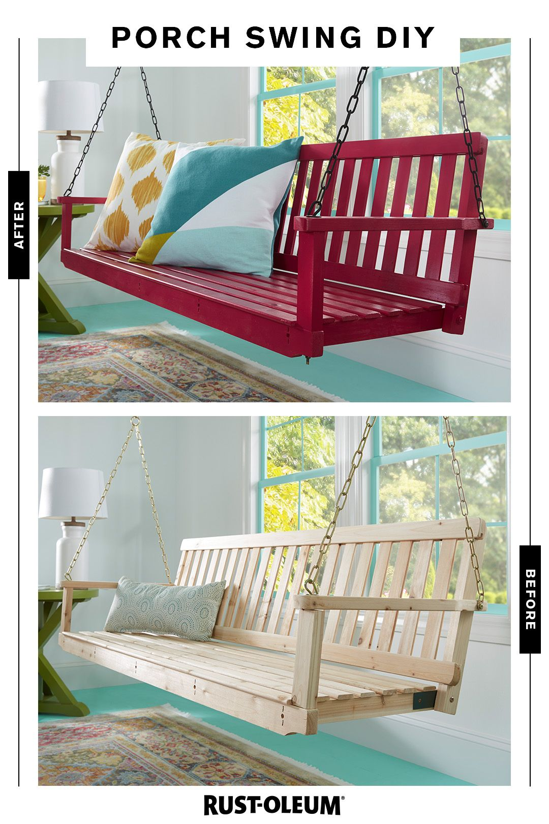 Get Into The Swing Of Summer With A Porch Swing And Some Rust Oleum Spray Paint Prideinthemaking Porch Swing Porch Decorating Backyard Diy Projects
