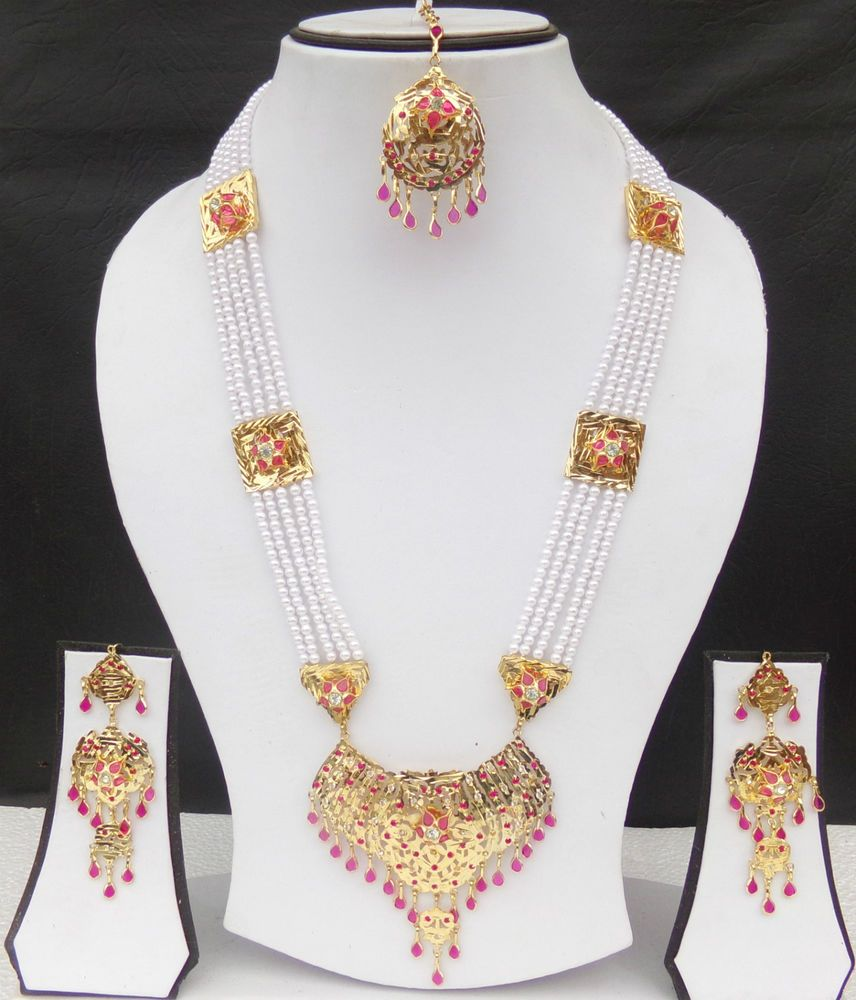 Indian Bollywood Designer Plaqué Or Bridal Fashion Pearl Jewelry Collier Set