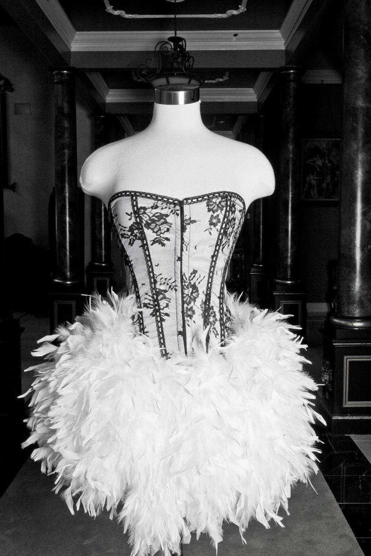 Corset feather dress