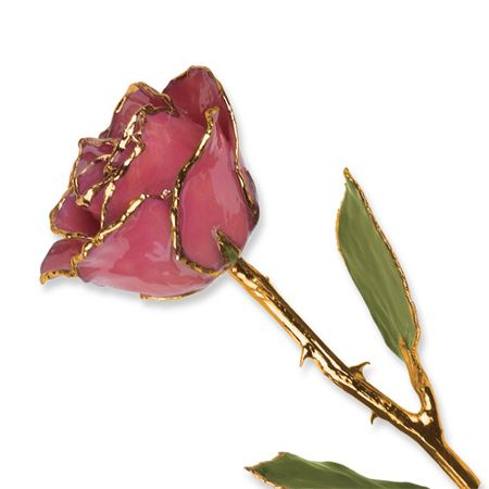 Flowers /& Leaves Lacquer Dipped 24K Gold Trim Stem White Twilight Pearl Rose