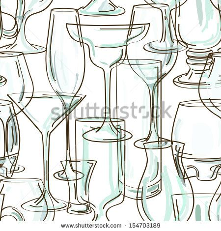 Seamless pattern of hand drawn transparent cocktail glasses