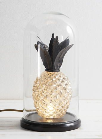 Antique Brass And Champagne Pineapple Table Lamp With Wooden Base In Glass Cloche Bhs
