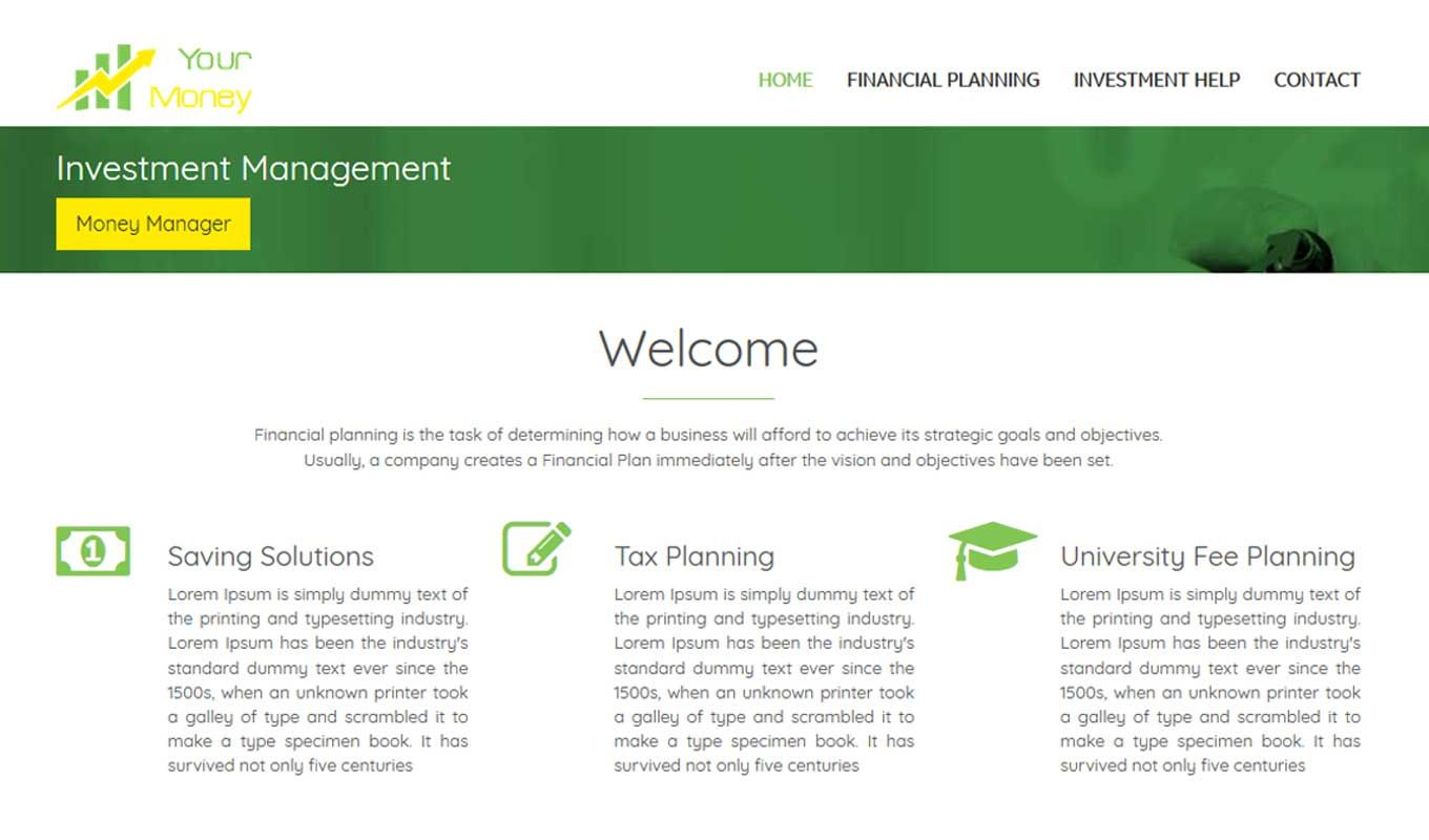 Financial Planning is a responsive multipage professional
