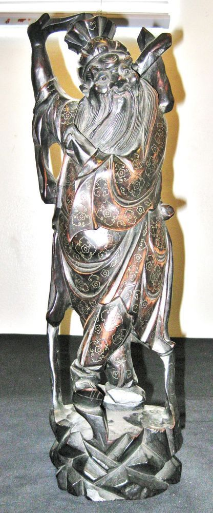 Antique Chinese Hand Carved Wood Statue Immortals With Wire Inlay 16 Wood Statues Statue Hand Carved Wood
