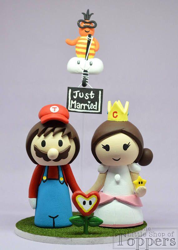 Wedding Cake Topper - Super Mario and Princess Peach Bride with ...