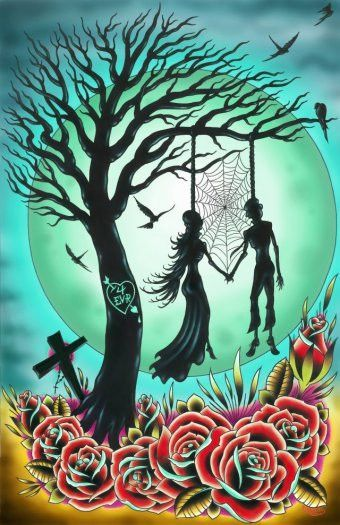 Burned Tree With Two Skeletal Lovers Hanging From Its Boughs The Moon Hangs In