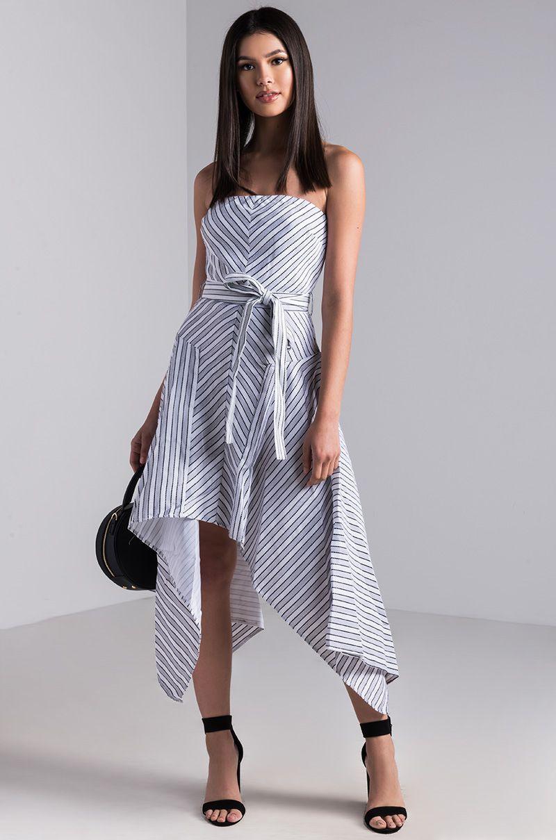 68f754ab111d AKIRA Strapless Striped Asymmetrical High Low Dress in Black White ...