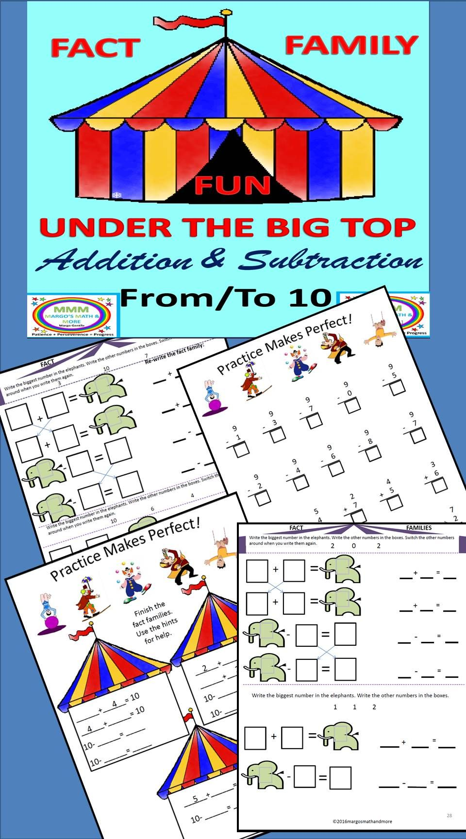 Under the Big Top Fact Family Fun Addition/Subtraction To & From 10 ...