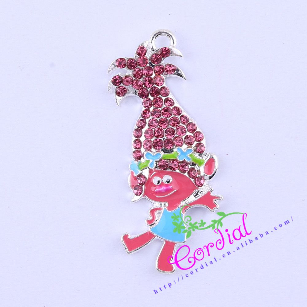 Free Shipping 10pcs/lot Cute Rhinestone Movie Character Summer Flower Boy Pendant Necklace Handmade Jewelry # CDRP-503877