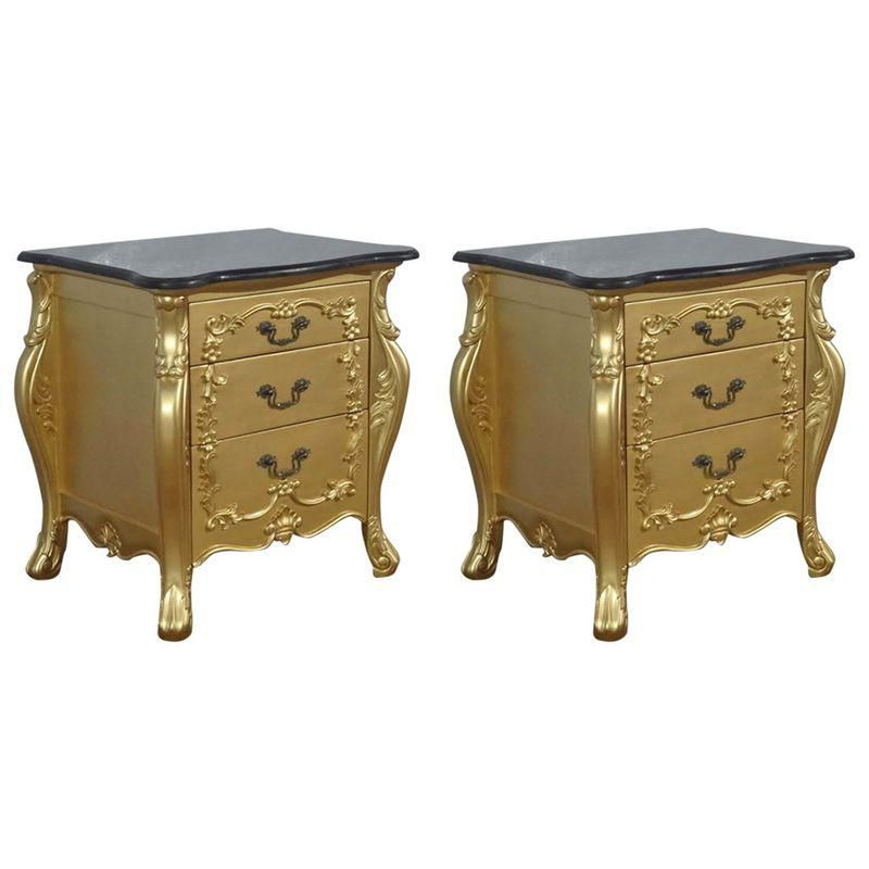Gold French Louis Xv Nightstands Pair Vintage Nightstand