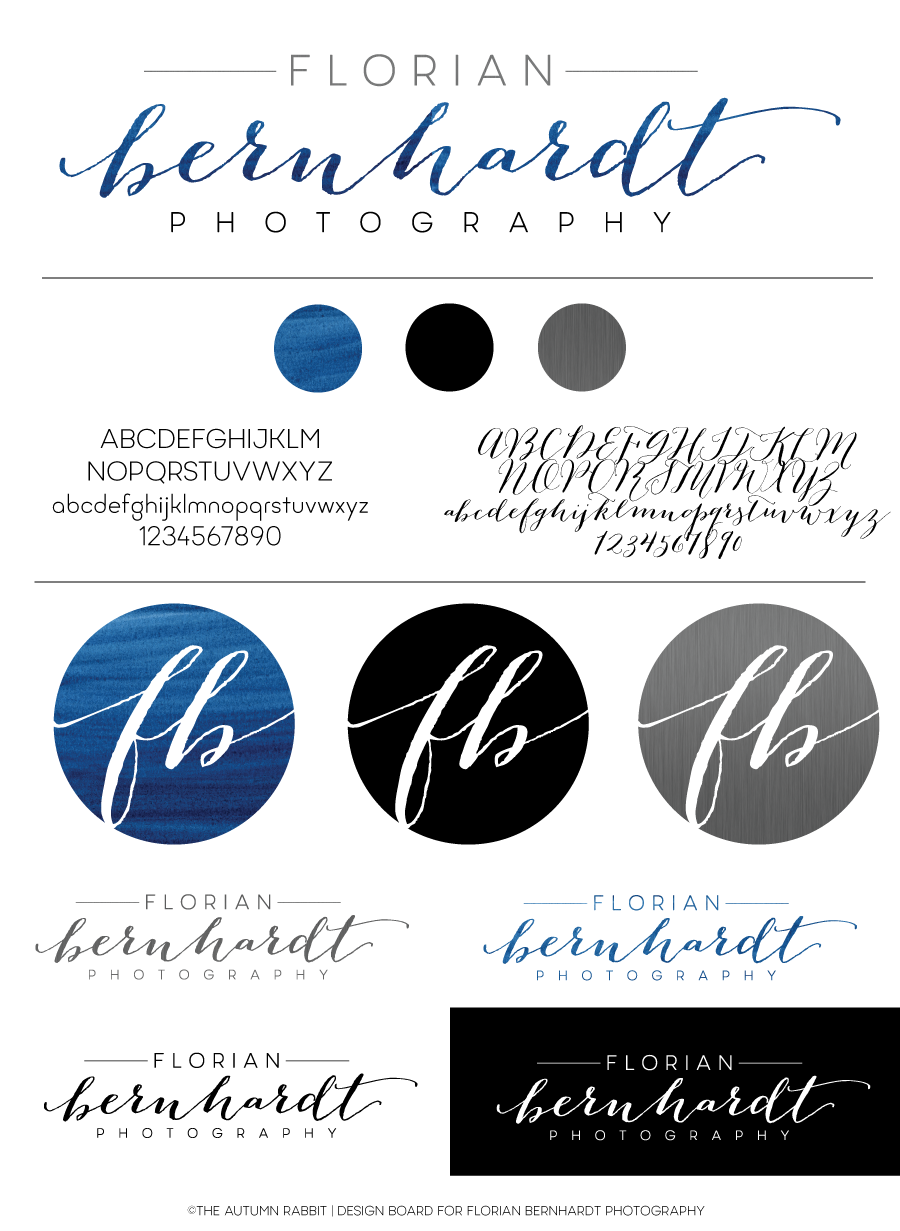bernhardt logo. Navy Blue Watercolor Logo Design Board For Florian Bernhardt Photography Designed By Www.theautumnrabbit.