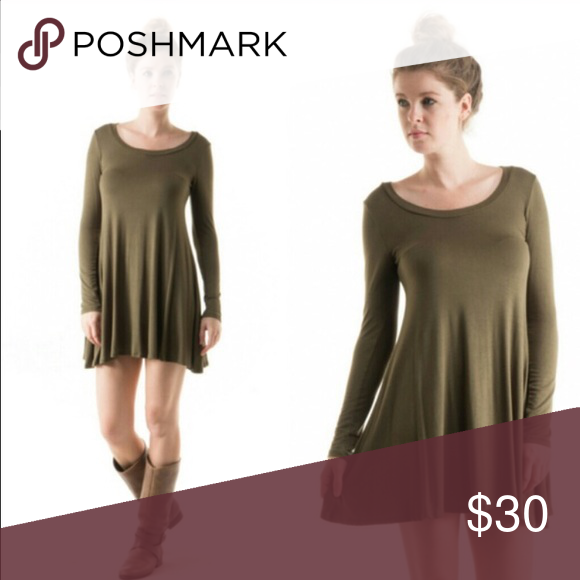 Long Sleeve Round Neck Flare Dress In Olive Fun Fall A Great Color