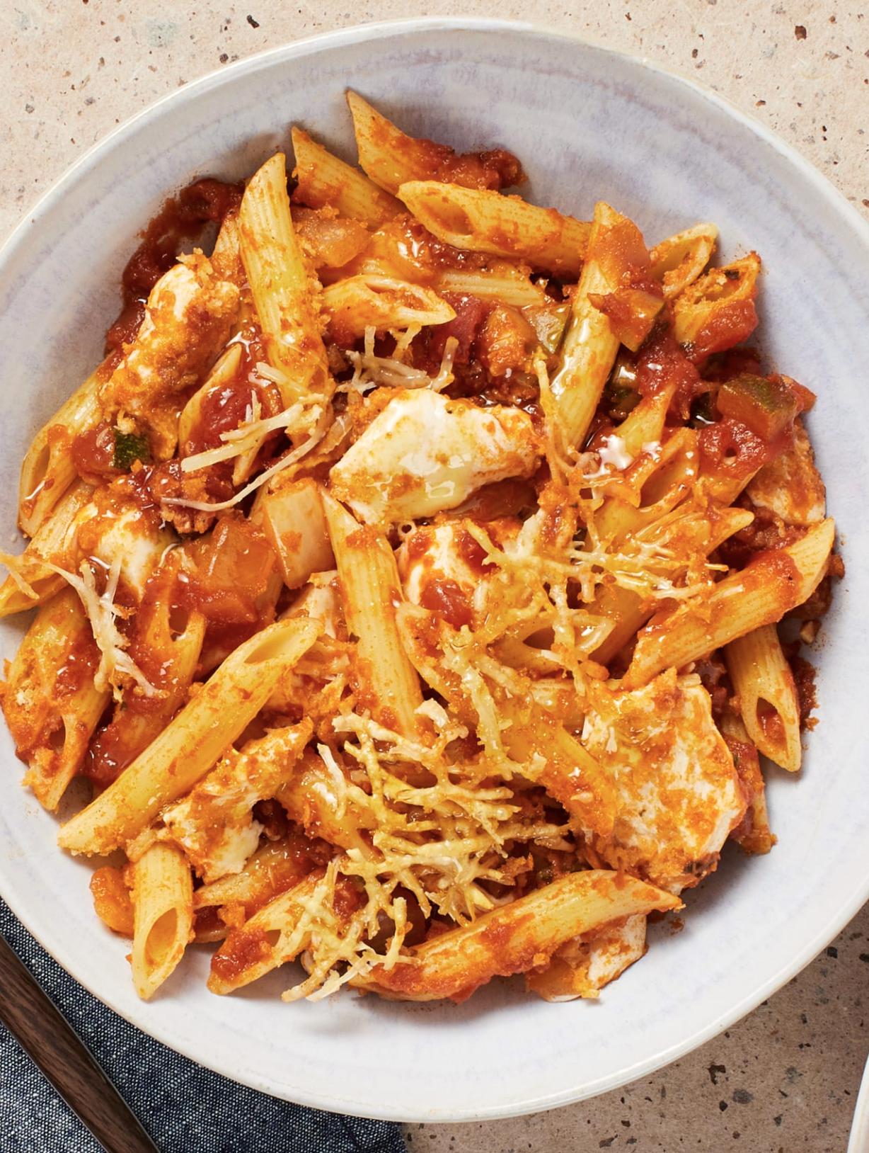 Pasta Parmesan With Zucchini Tuscan Herbs And Marinara Sauce