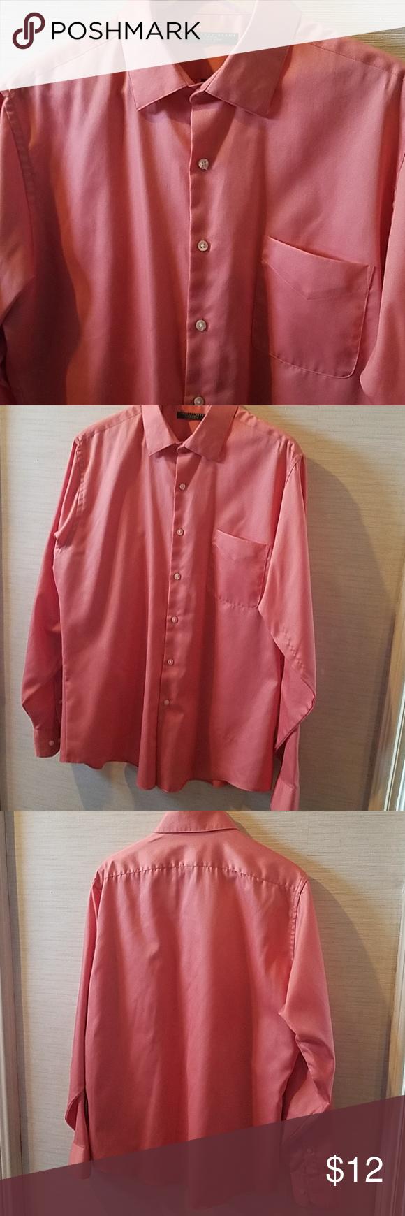 Geoffrey Beene Fitted Salmon Dress Shirtneck 17 My Posh Closet