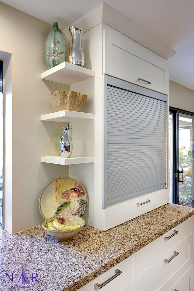 Timber veneer kitchen tambour doors tambortech - Classic White Shaker Kitchen Aluminum Tambour Door Discreetly Conceals Television Narkitchens