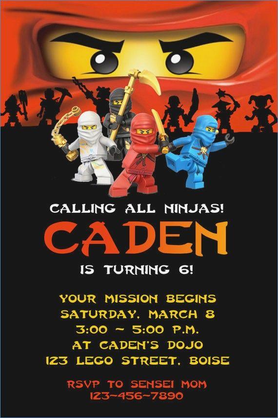 Lego Ninjago Ninja Birthday Party Invitation By Twotwelvedesigns