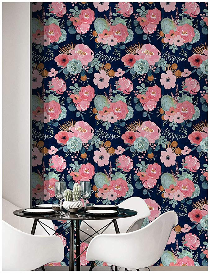 Amazonsmile Haokhome 93005 1 Peel And Stick Modern Floral Wallpaper 17 7 X 9 8ft Pink Green Modern Floral Wallpaper Floral Wallpaper Contact Paper Decorative