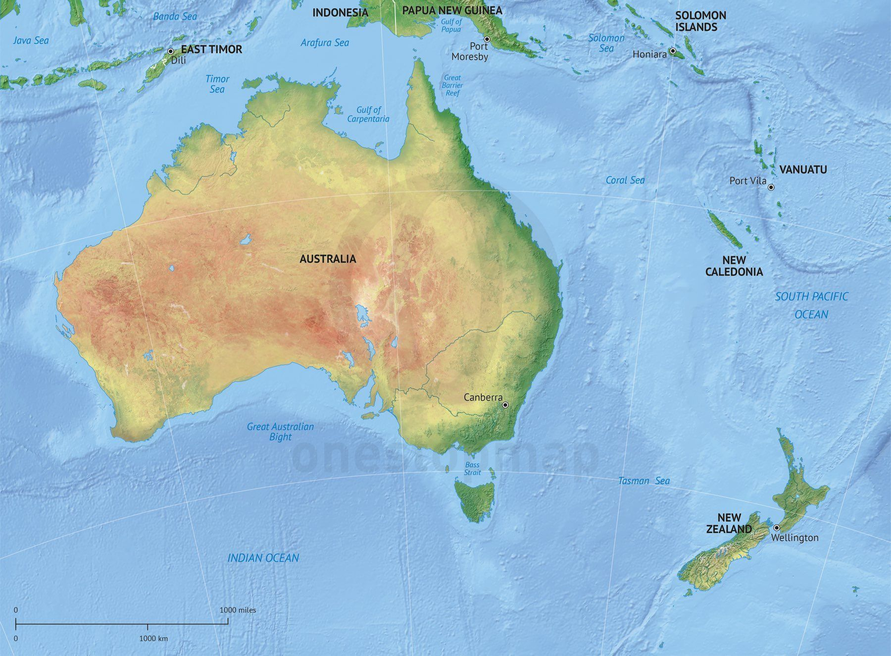 Vector Map Australia New Zealand Relief Australia - Map of australia and new zeland